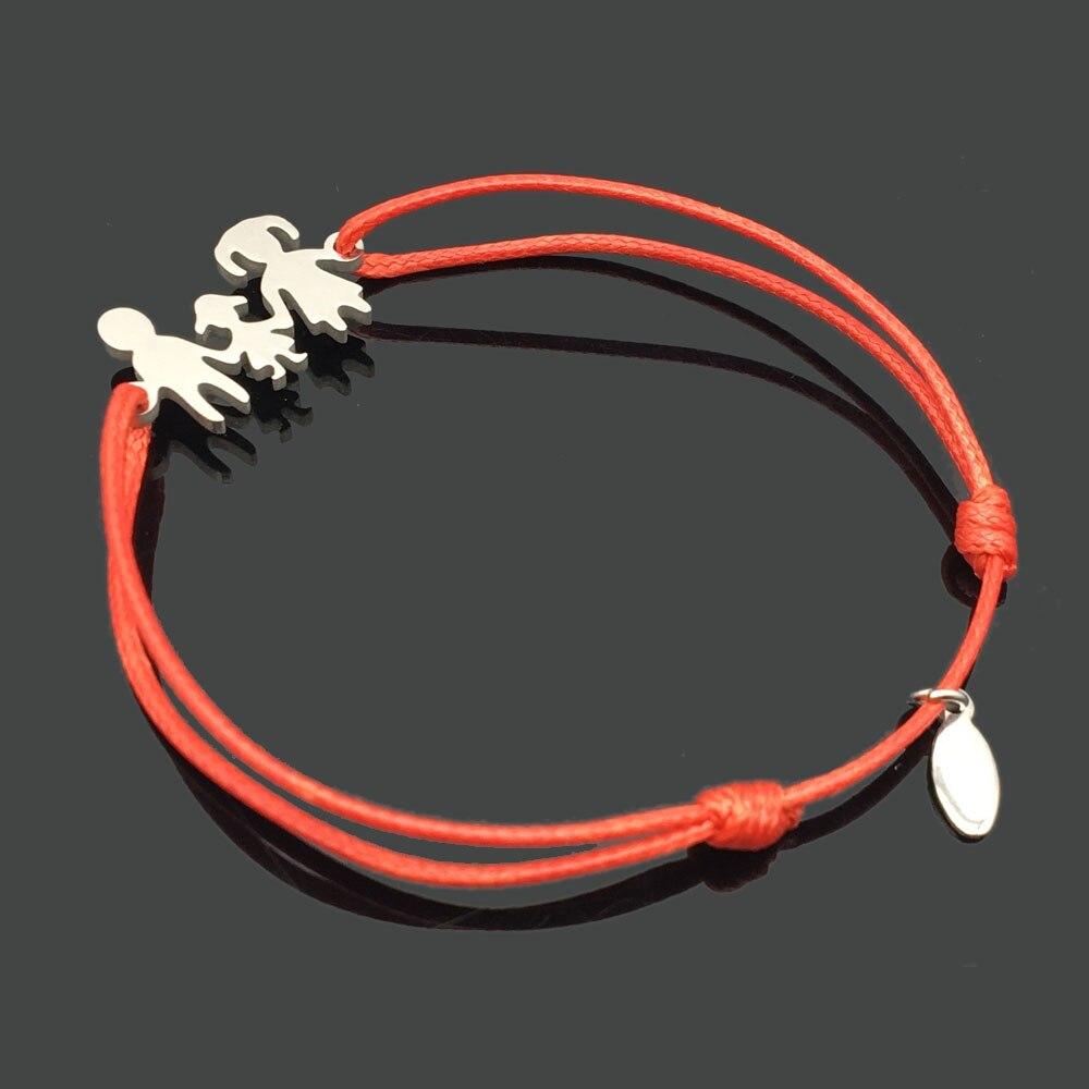 2 шт браслет желаний из нержавеющей стали, регулируемый шнур, хороший браслет, приносящий удачу, красный браслет дружбы - Окраска металла: stainless family