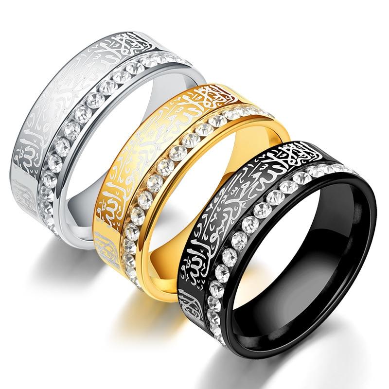 Luxe arabe islamique musulman Allah glacé bague avec breloque en acier inoxydable couleur noir/or anneaux pour femmes hommes bijoux religieux