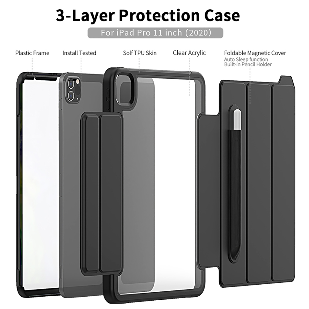 Clear Case for iPad Pro 11Inch 2020 Tough Flexible Cover Ultra Thin Air Guard Corner Protective