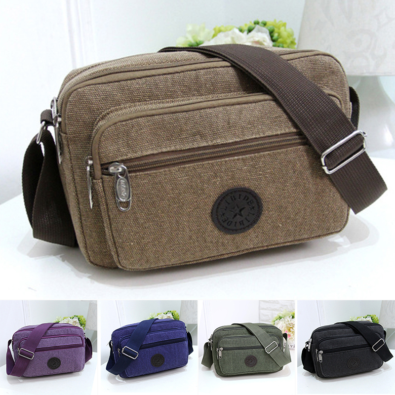 2019 Vintage New Casual Canvas Leather Bag Men Women Military Army Crossbody Messenger Shoulder  Travel Handle School s