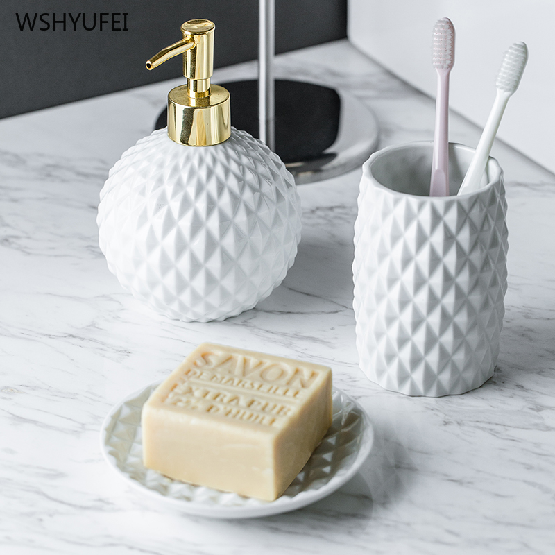 European embossed white ceramic bathroom set cleaning home bathroom toothbrush holder soap liquid soap dish mouth cup bath ware image