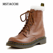 MStacchi Winter Plush Mid-Calf Boots Women Retro Cross Lace-Up Genuine Leather Botki Damskie Female Keep Warm Sexy Snow Booties(China)