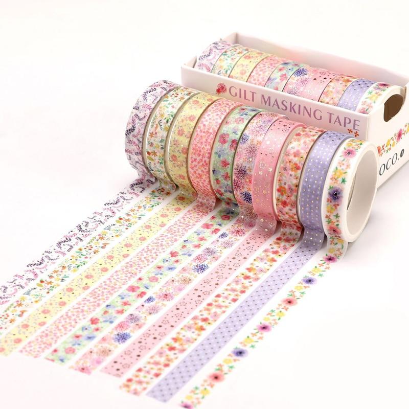 10 Pcs/Set Gold Foil Washi Tape Cute Heart Masking Tape Decorative Adhesive Tape Sticker Scrapbooking DIY  Stationery 3