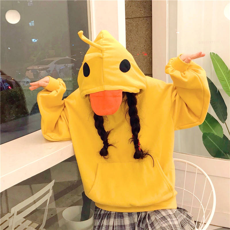 Kawaii Korean Winter Warm Pullover Female Yellow Duck Fashion Cute Girl Casual Loose Casual Long Sleeve Hoodies Sweatshirts