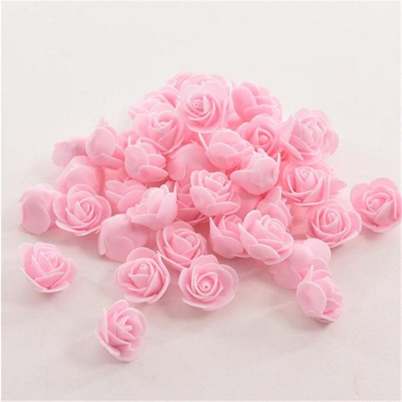 50 pièces tête de fleur artificielle fait à la main bricolage mariage décoration de la maison multi-usage PE mousse Rose