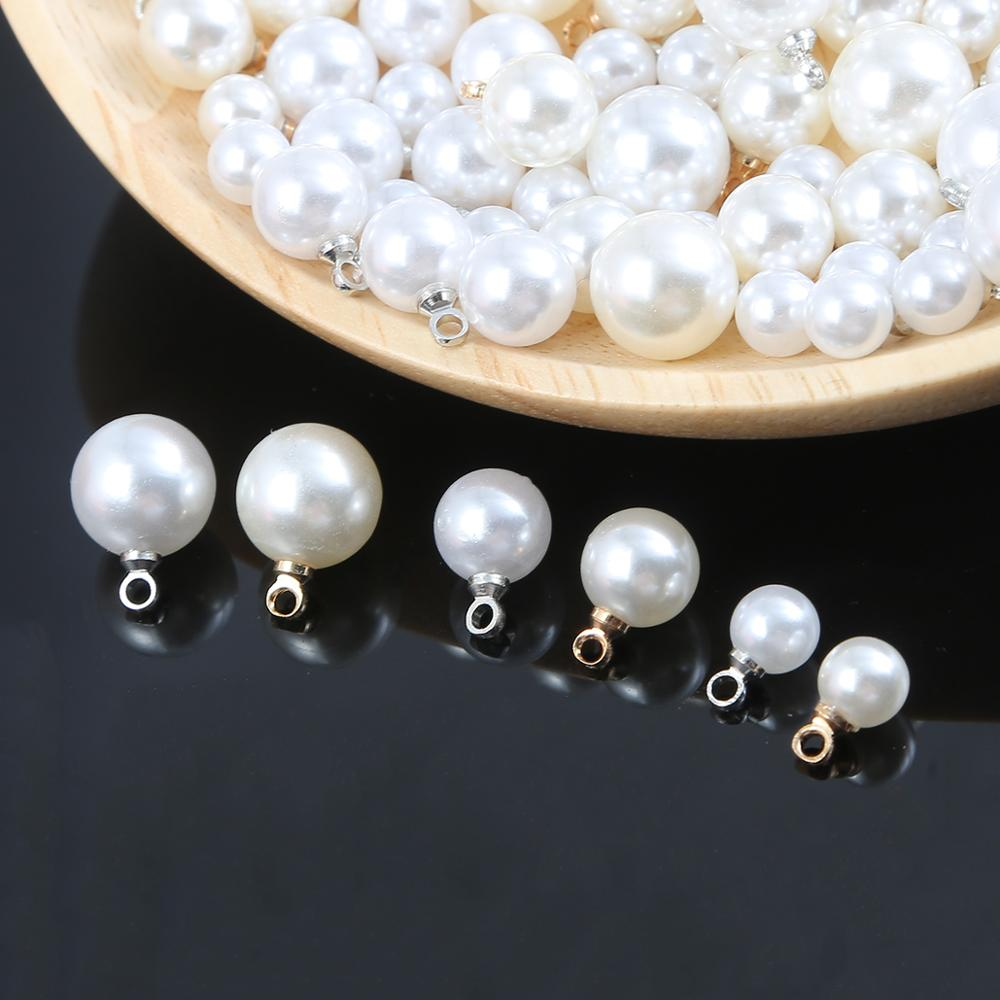 20pcs/lot Imitation Pearl Beads Crimp End Beads Round Charms Pendant For Jewelry Making DIY Earrings Findings Accessories(China)
