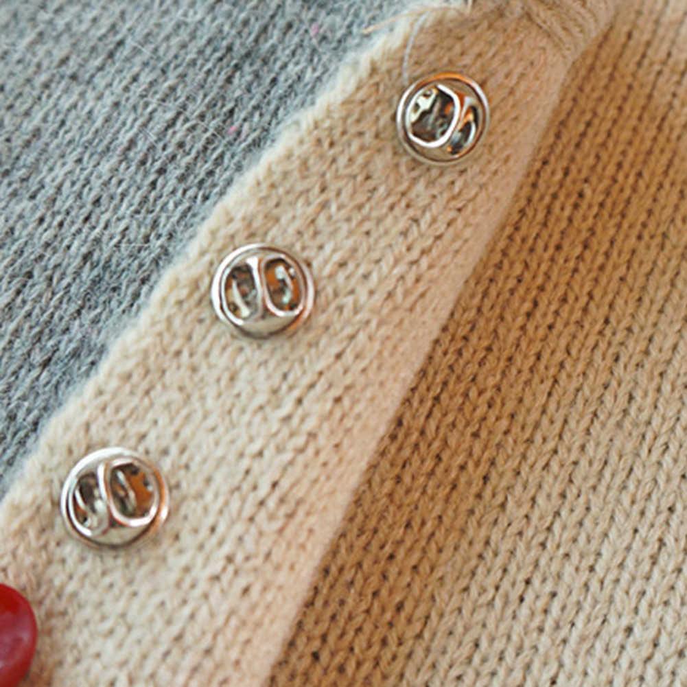 Tombol Bros Imitasi Pearl Lingkaran Bros Pin Pu Tombol Trendi Logam Sweater Kerah Jilbab Pin Bros Perhiasan Accessorie