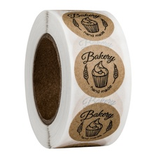 500pcs round shape bakery hand made brown kraft sticker Birthday Party Favors Labels   Special Day baked goods sealing bags