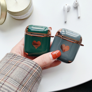 For AirPods 1/2 3 funda For AirPods Pro 3 Case luxury Love heart Gold plating Silicone Protective Case For AirPods Earphone Case(China)