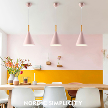 Pendant Lights Morden Home Decor E27 Lamp Holder High Quality Wood Aluminum