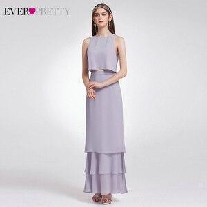 Image 3 - エレガントな二枚花嫁介添人ドレスこれまでにかわいいEP07173 oネックフリル重層シンプルなシフォンウェディングパーティーsukienki