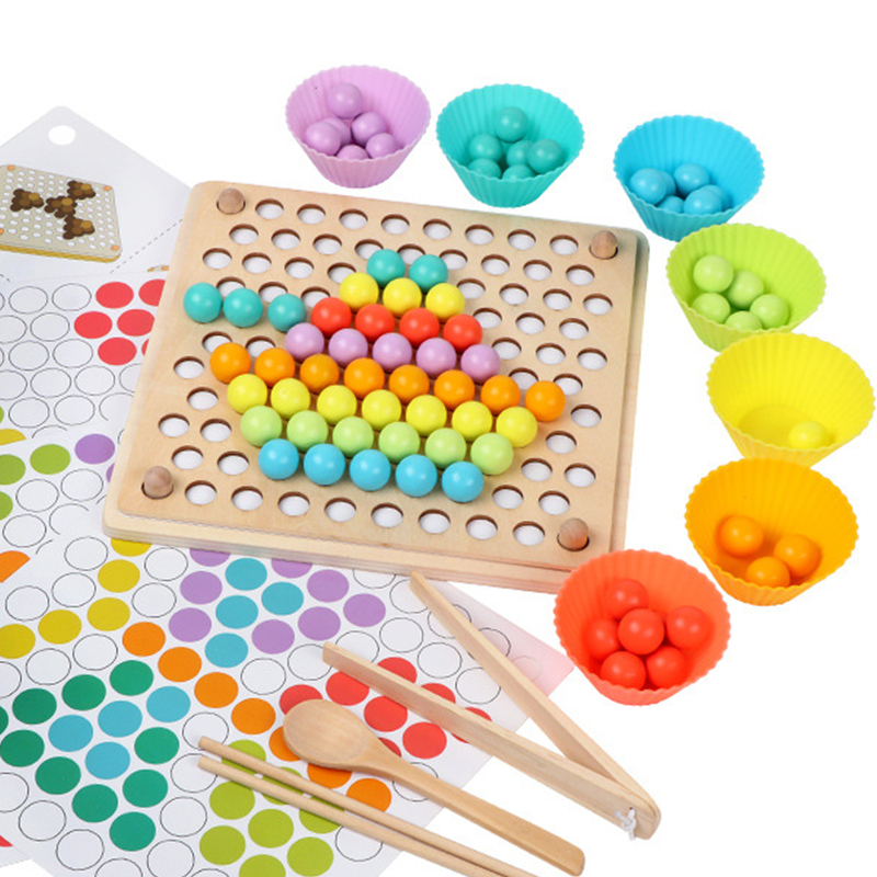 Montessori Educational Wooden Toys Game Kids Toys For Children Clip Beads Wooden Montesori Learning Sorting Color Sensory Toys