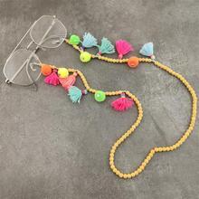 Stone Beads Glasses Chain Eyeglass Lanyard Strap Cord Tassels Plush Ball Sunglasses Necklace Fashion