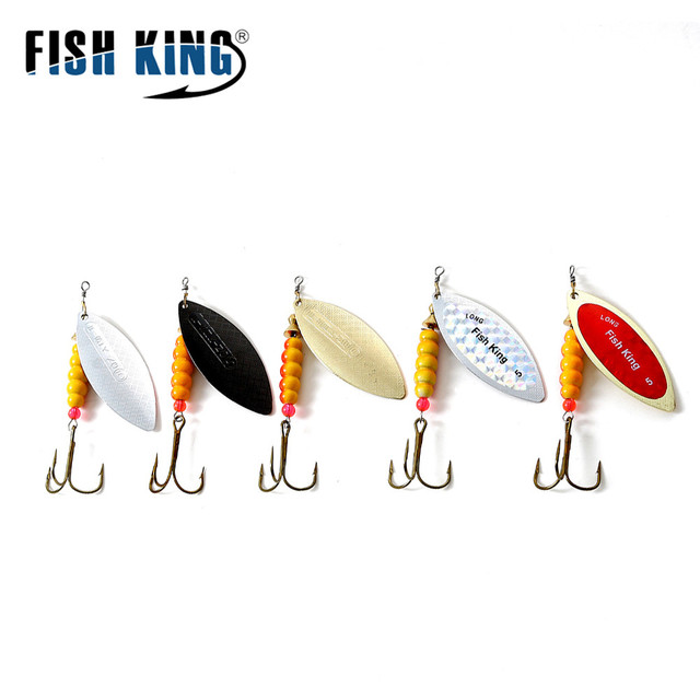 FISH KING Willow Spinner Bait 4.0g/6.6g/11.3g/17.3g/28.3g Copper Size 1#-5# With 35647-BR Treble Hook 1/0#-8# Fishing Lure