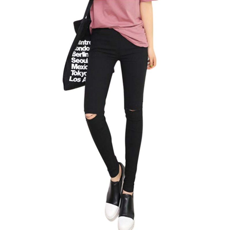 Skinny Jeans Women Denim Pants Holes Destroyed Knee Pencil Pants Casual Trousers Black Stretch Ripped Jeans