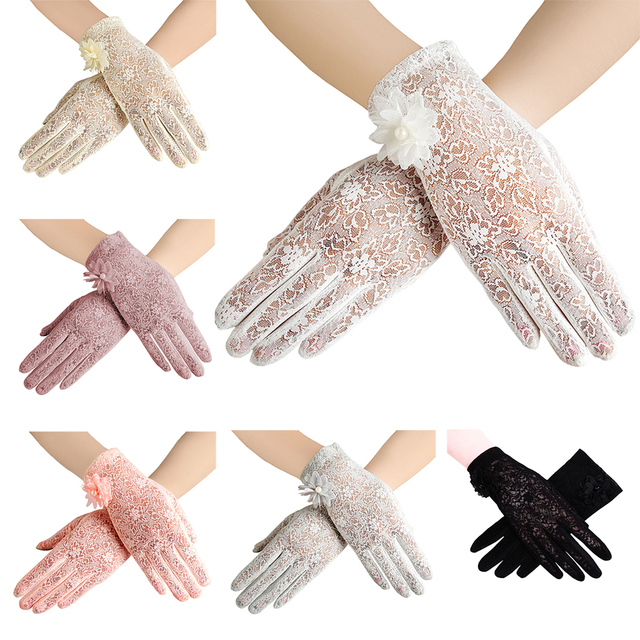 Women's Elegant Lace Gloves Wrist Sun Protection Driving Gloves for Summer Touch Screen Anti-Slip Fabric
