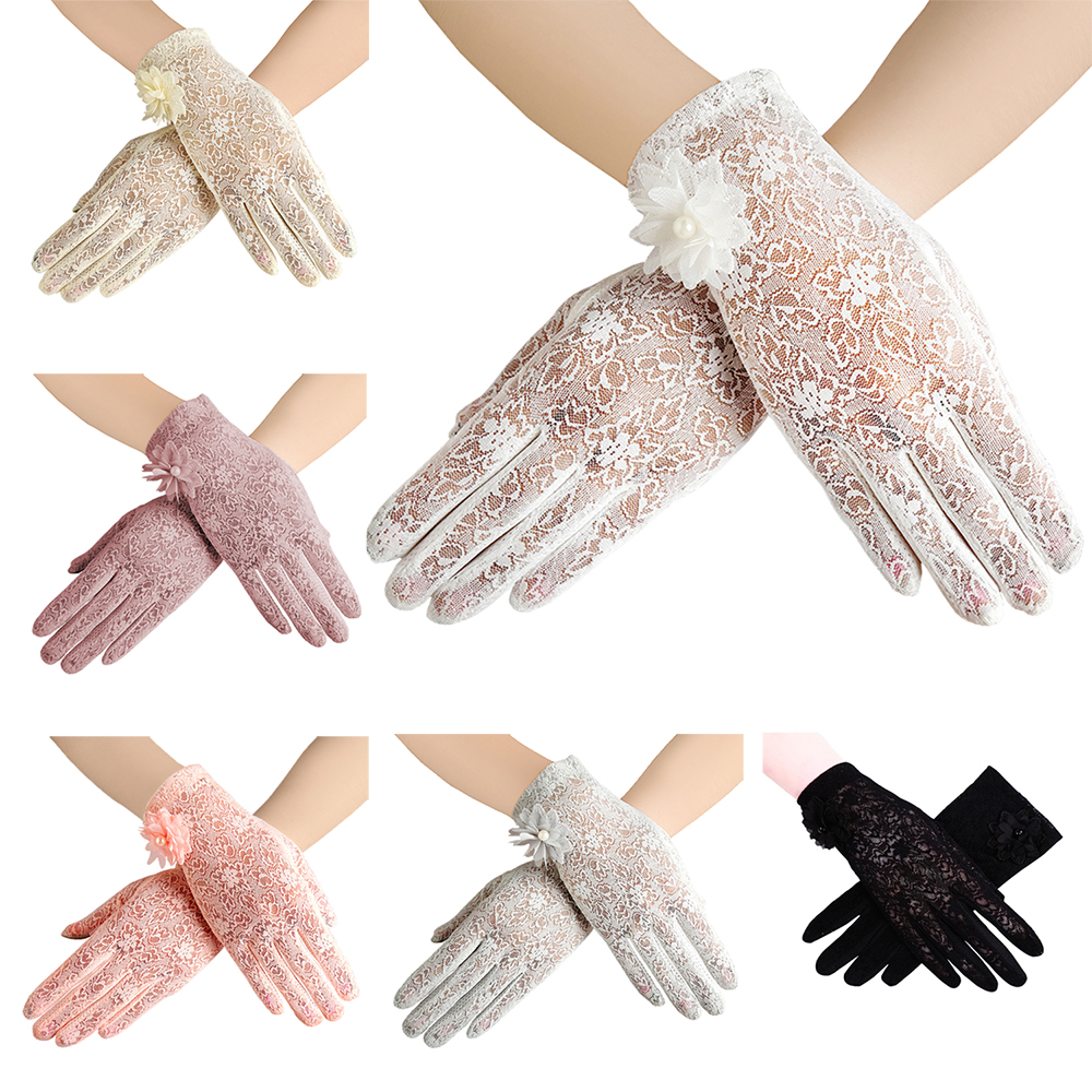 Women's Elegant Lace Gloves Wrist Sun Protection Driving Gloves For Summer Touch Screen No-Slip Fabric