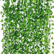 Ev dekor 12 ipliklerini 86 Ft yapay ivy yaprak Vine Garland sahte yeşillik asılı bitkiler ev dekor oturma odası dekorasyon