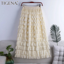 TIGENA Elegant Chiffon Maxi Skirt Women 2021 Spring Summer Fashion Multi-layered Tiered A Line High Waist Long Skirt Female Lady