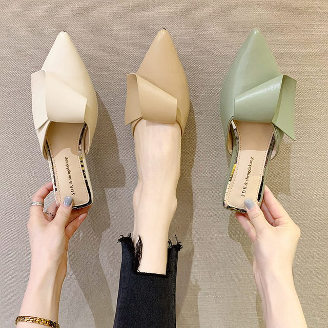 2020 Summer Fashion Women Pointed Toe Slipper White Square Low Heels Outsides Ladies Slides Luxury Brand Beach Mules Shoes