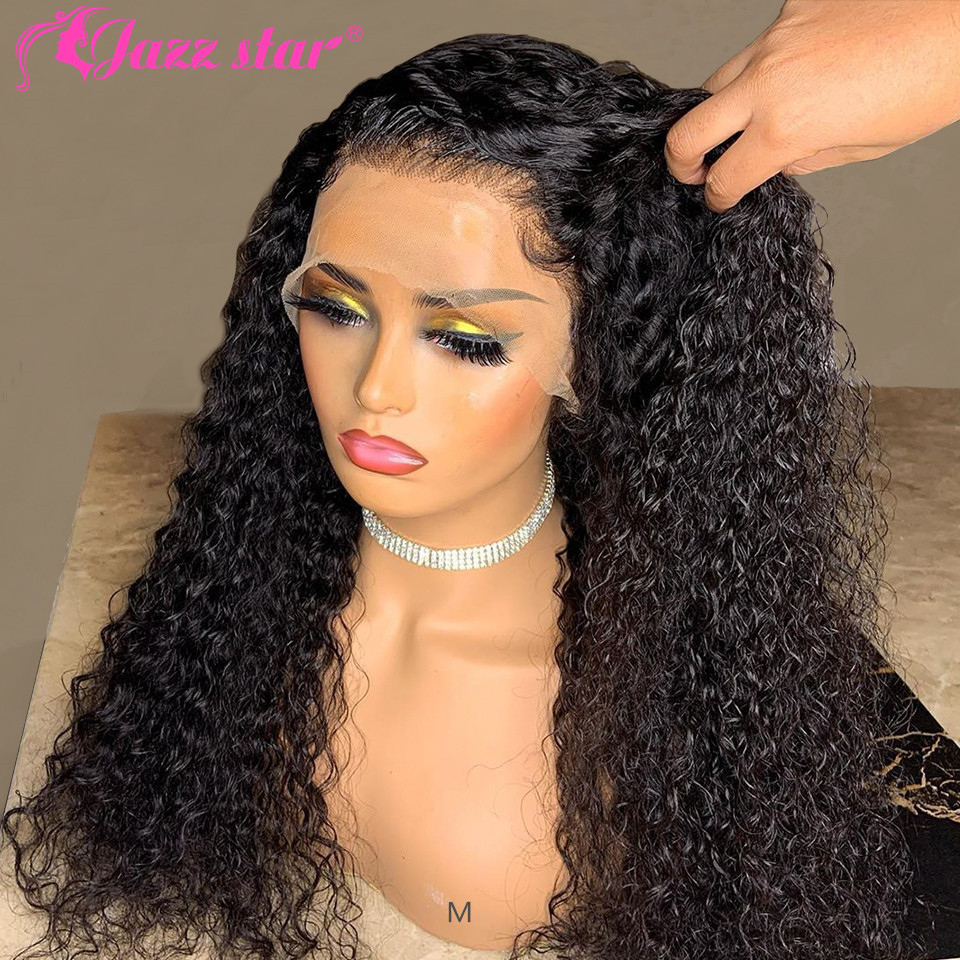 Kinky Curly Human Hair Wig 360 Lace Frontal Wig Pre Plucked with Baby Hair Brazilian Lace Wigs Non-Remy Jazz Star 150% Density