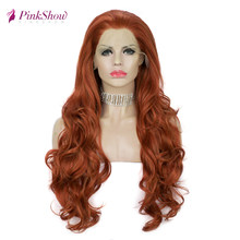 Pinkshow Orange Lace Front Wig Synthetic Lace Front Wig Glueless Heat Resistant Fiber Long Wavy Wigs For Women Daily Ginger Wig(China)