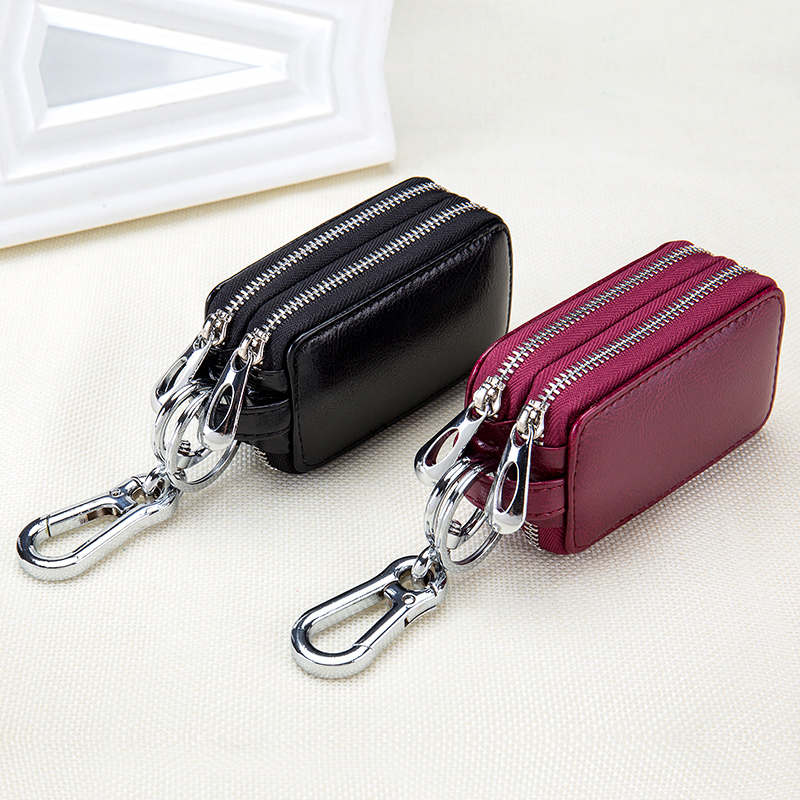For Kia Optima K5 Suzuki Sx4 Genuine Cow Leather Home Car Keys Bag Double Pocket Zipper Mini Wallet Transparent Pocket in Key Case for Car from Automobiles Motorcycles
