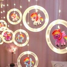 3M 135Leds Unicorn Curtain Light 5V Twinkle String Lights with Hook Kids Bedroom Wedding Lamp Wall Backdrop Decor Night Light