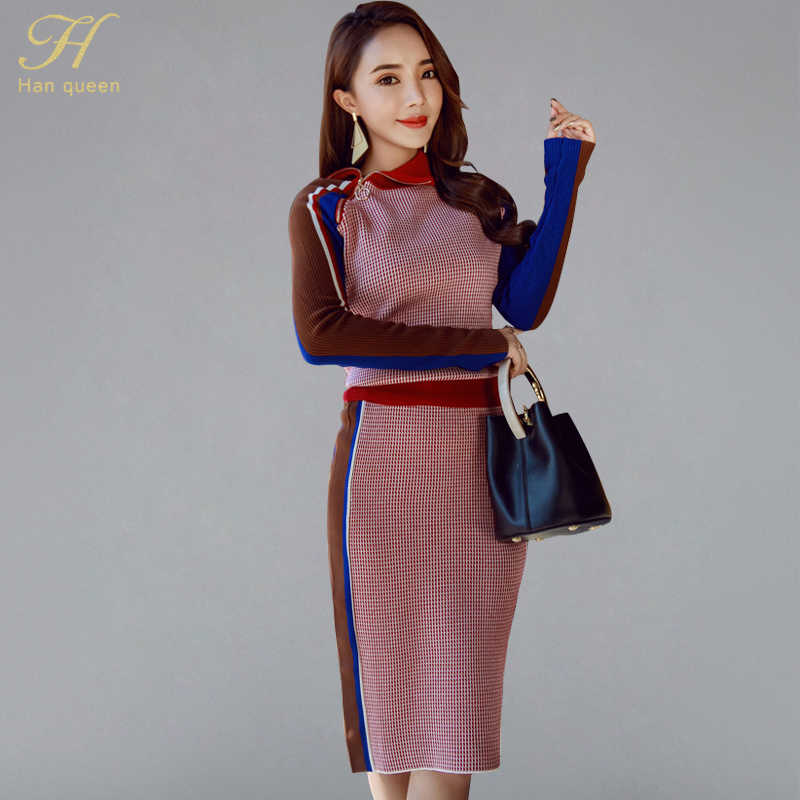 H Han Queen Vintage Turtle-neck Knitted 2 Pieces Set Women 2019 Winter Hit Color Pullover Sweater & Elastic Sheath Bodycon Skirt