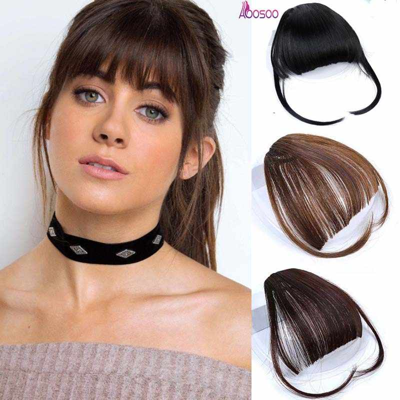 AOOSOO hair Extension Synthetic False Hair Neat Front False Fringe Thin Blunt Clip In bangs piece for Women