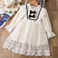 Vestido de novia blanco para niña, elegante vestido de fiesta de flores de encaje, vestido de princesa de cumpleaños, vestido de lazo para niña de 3 a 8 años, vestidos de graduación para niño