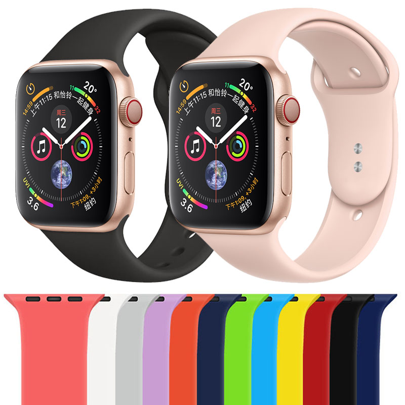 Soft Silicone Sports Band For Apple Watch 5 4 3 2 38mm 42mm Bands Rubber Watchband Strap For Apple Iwatch Series 4 40mm 44mm