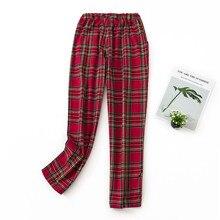 Зимние штаны Новые Большие размеры пижамы красные клетчатые домашние брюки пижамы для мужчин и женщин одежда для сна Хлопок Lounge