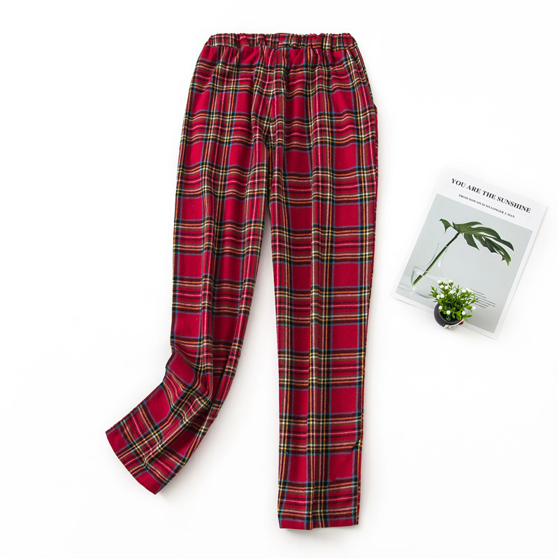 Winter Pants New Large Size Bottoms Pijamas Red Plaid Household Pants Pajama Men And Women Cotton Sleep Wear Cotton Lounge