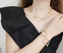 цена на 2019 fashion Simple irregular geometric link chain necklace bracelet for women