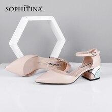 SOPHITINA Elegant Women Pumps Pointed Toe Square Heel High B