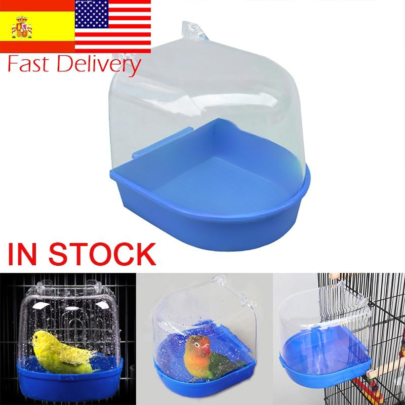 1Pc Plastic Bird Water Bath Box Bathtub Parrot For Parakeet Lovebird Bird  Pet Cage Hanging Bowl Parakeet Birdbath Dropshipping