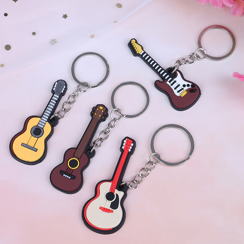 2Pcs/set Soft Silicone Instrument Keychain Folk Electric Classical Guitar Ukulele Key Ring