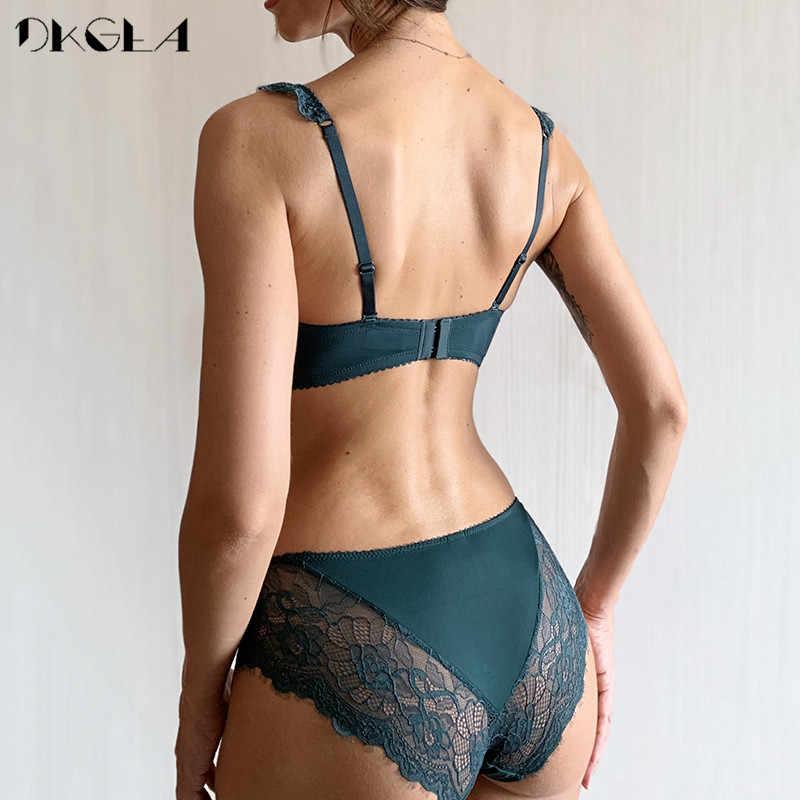 Nova moda verde sutiã profundo v push up conjunto de sutiã de algodão grosso a b c cup feminino sutiãs lingerie conjunto rendas sexy roupa interior preto