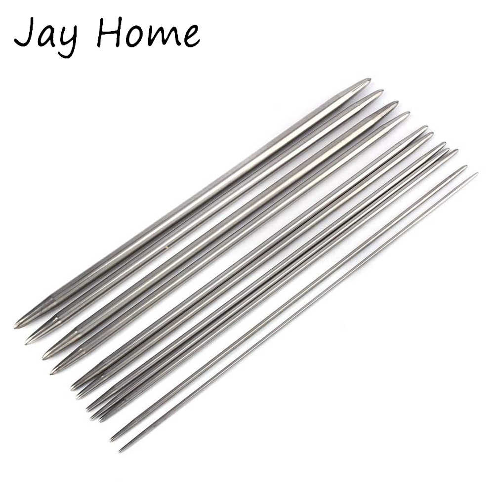 SET 20 cm/'s 5x DOUBLE POINTED STAINLESS STEEL  KNITTING NEEDLES IN SIZES 2MM-6MM