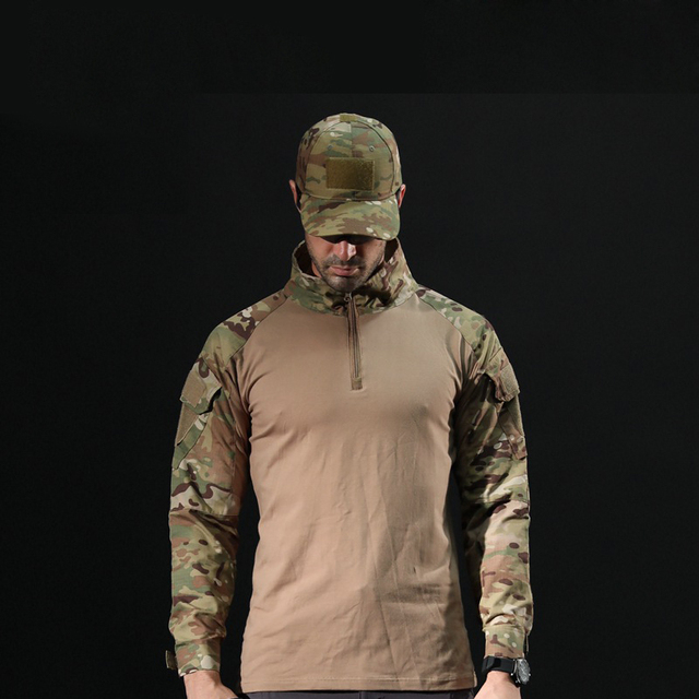 Men's Outdoor Tactical Hiking T-Shirts,Military Army Camouflage Long Sleeve Hunting Climbing Shirt,Male Breathable Sport Clothes 5