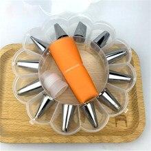 14ピース/セットデザートのデコレータシリコーンアイシング配管クリームペストリーバッグステンレス鋼配管アイシングノズルクリーム菓子ツール