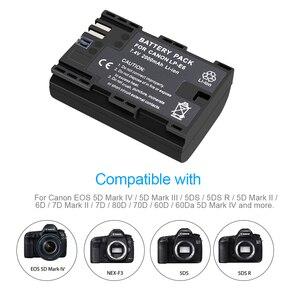 Image 3 - PALO LP E6 LP E6N LP E6 2000mAh батарея + LCD USB двойное зарядное устройство для Canon EOS 6D 7D 5D Mark II III IV 60D 60Da 70D 80D 5DSR