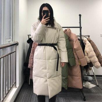 Winter Warm Leather Parkas Women Fashion Straight Loose Pockets Coats Women Elegant Long Cotton Jackets