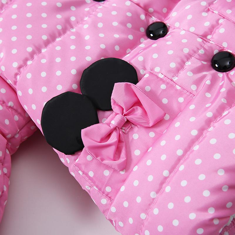 7 Bibihou Winter Coats Kids Clothes Children Clothing Cotton Girl Coat Jacket Fashion Warm Outerwear Jackets For Girls Minnie dot