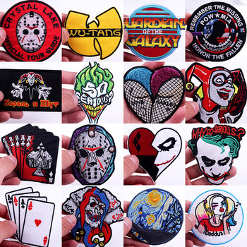 Prajna Joker Poker Patch Iron On Patches For Clothing Hippie Embroidered Patches On Clothes Biker Movie Patch Clothes Stickers prajna van gogh patch military biker patch punk applique iron on embroidered patches for clothes stripes stickers on clothes diy