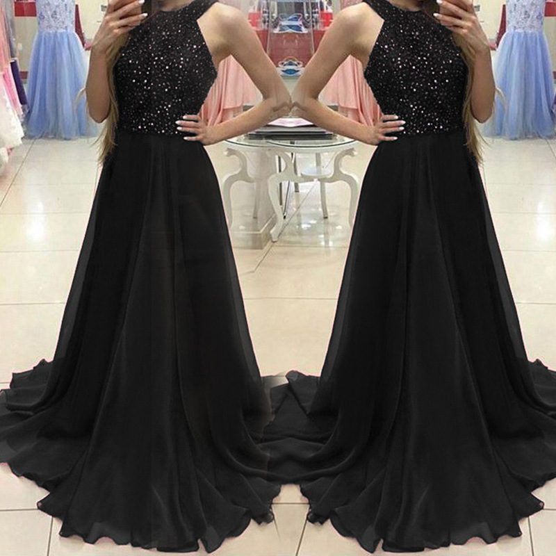 2018 Autumn And Winter New Style Europe And America Foreign Trade Evening Gown Amazon Long Drag Strip Light Diamond Sexy Evening