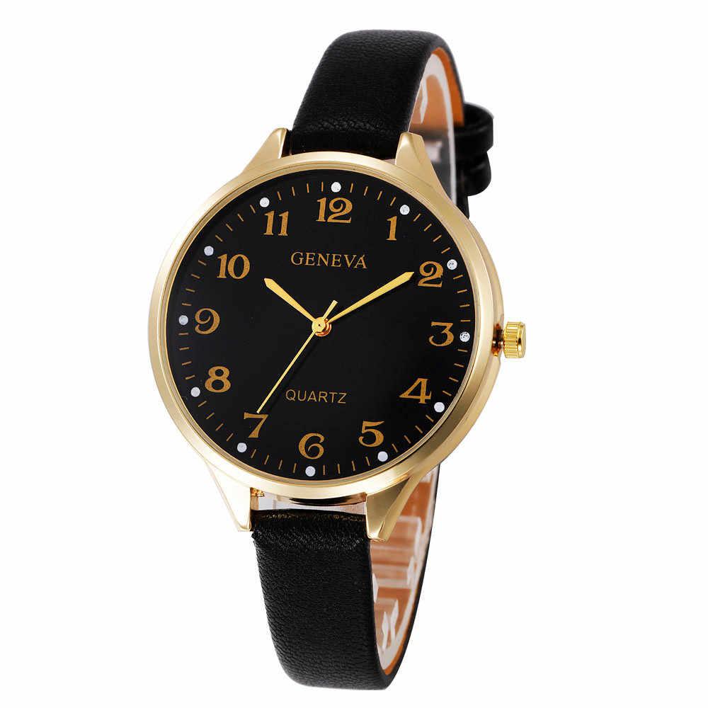 Cenevre saatler kadınlar lüks üst marka moda erkek deri askeri rahat Analog kuvars kol saati iş saatler