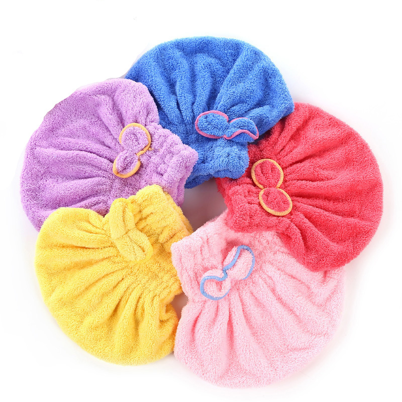 5 Color Colorful Bath Towel Cap With Microfiber Solid Fabric For Ladies 1