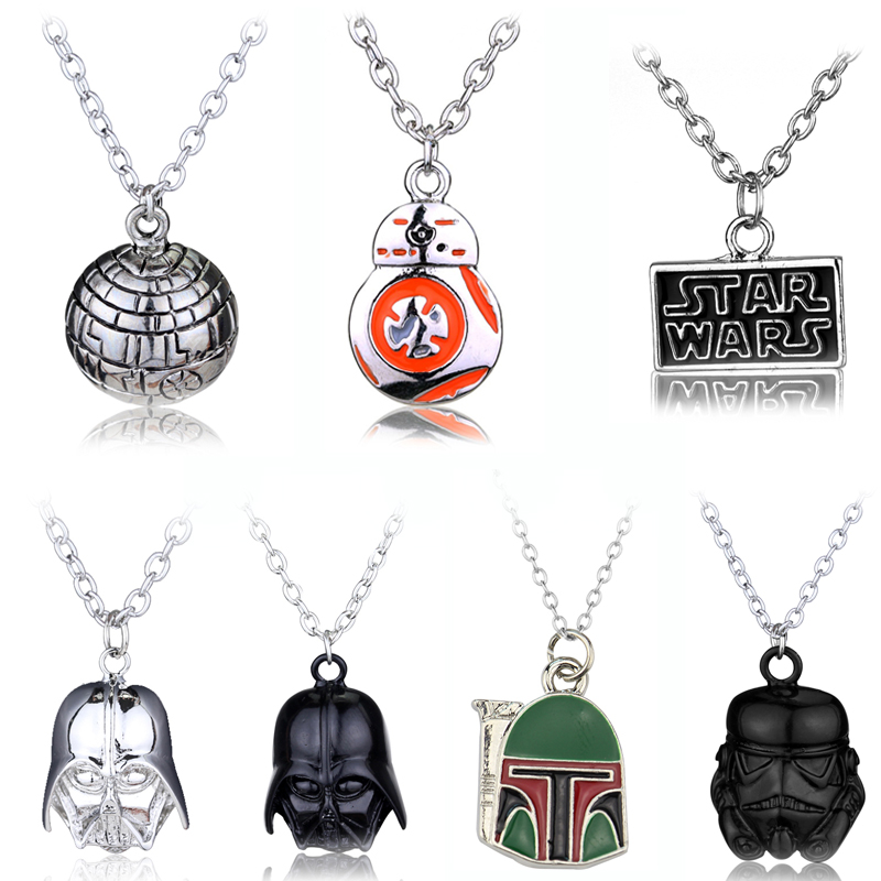 Star Wars Darth Vader Helmet Pendants & Necklaces Movie Jewelry Black/Sliver Warrior Star Wars logo Long Chain BB8 Necklace